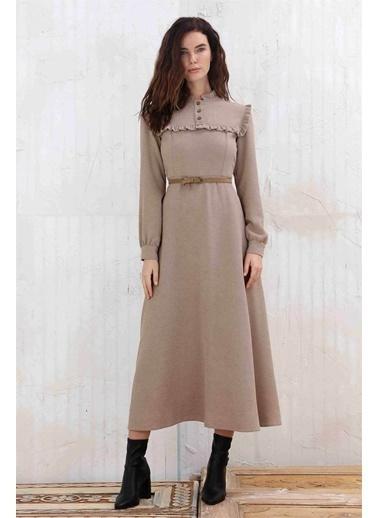 Vivencia Önü Düğmeli Kemerli Kadın Kadife Elbise  Vizon